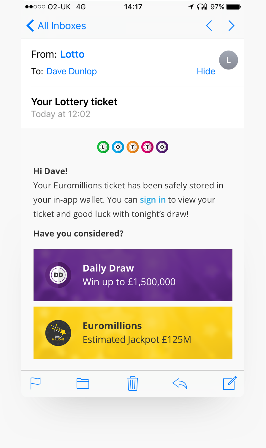 An opportunity for cross sell and upsell with your digital lottery design
