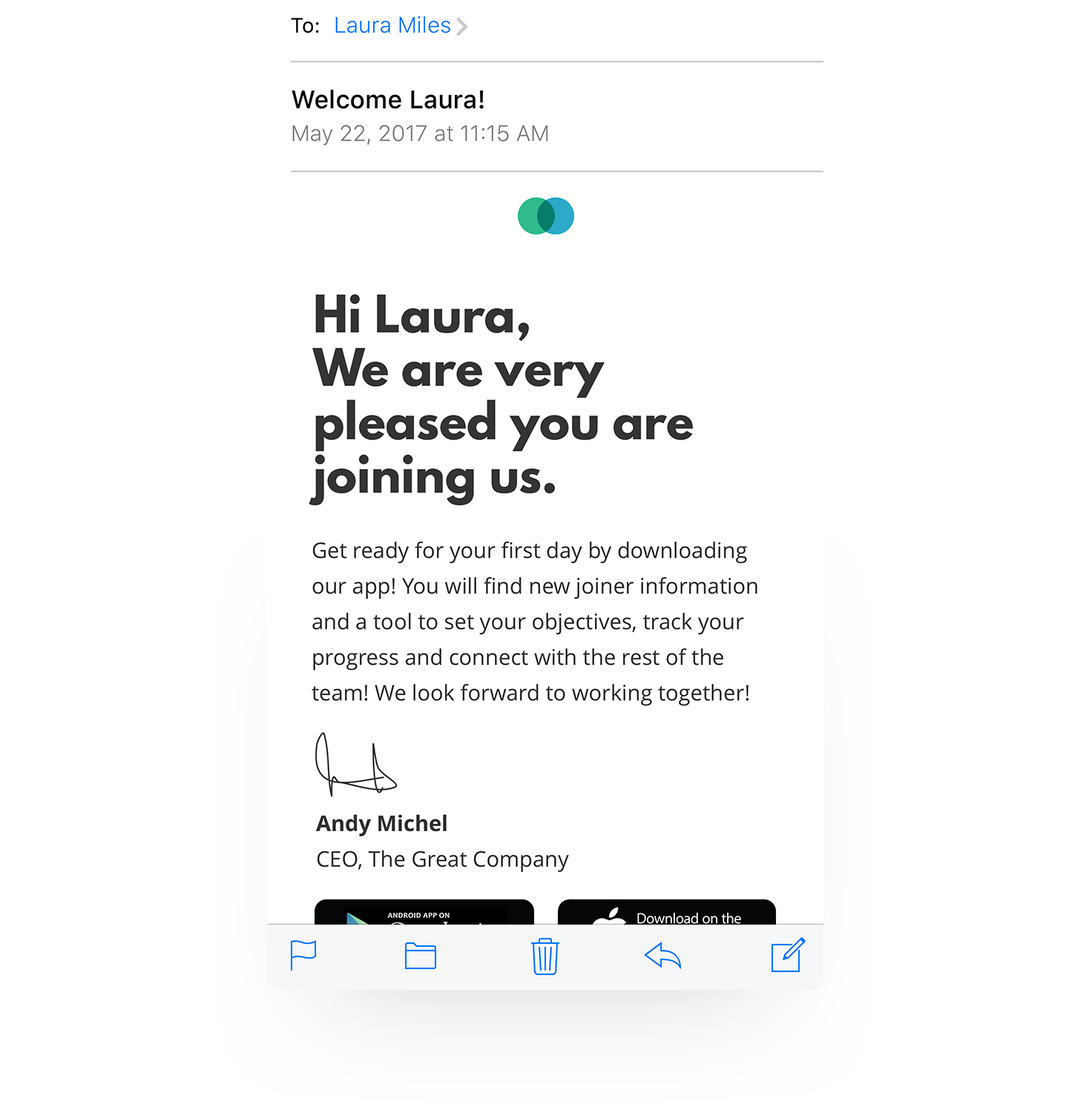 Example of digital employee experience app
